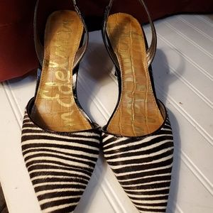 Zebra hair and black patent heels